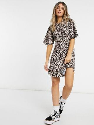 WOMEN Style Cheat Cali open back mini tea dress in animal print