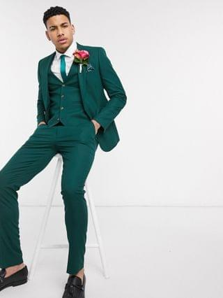 MEN wedding skinny suit pants in forest green