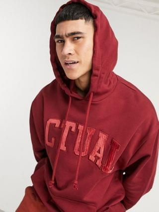 Actual oversized hoodie with chest logo in burgundy
