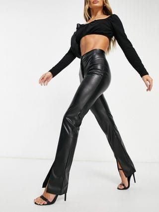 WOMEN leather look slide pants with split front in black