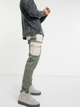 Liquor N Poker cargo pants with pocket detail in stone