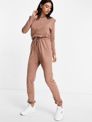 WOMEN tall long sleeve shoulder pad sweat jumpsuit in brown