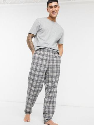 lounge t-shirt and soft plaid pant pajama set