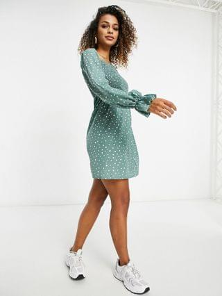 WOMEN Missguided milkmaid mini dress with shirred bust in sage polka dot