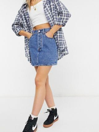 WOMEN Levi's ribcage denim skirt in mid wash