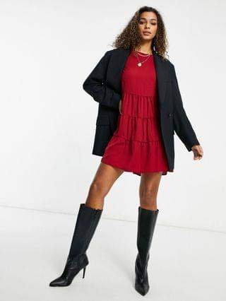 WOMEN Missguided tiered smock dress with long sleeves in burgundy
