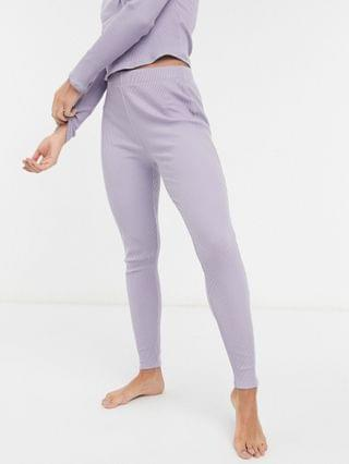 WOMEN Topshop ribbed pajama set in mauve