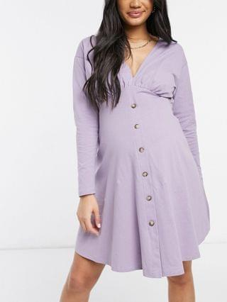 WOMEN Maternity tea dress with long sleeves and horn buttons in purple ash