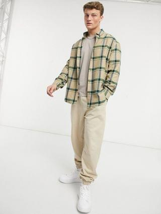 90s oversized check shirt in beige and green