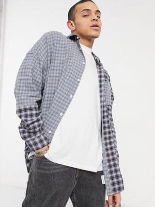 COLLUSION oversized shirt in spliced gray check