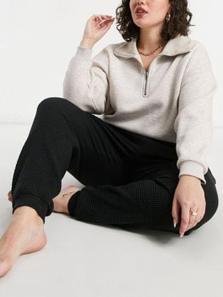 WOMEN Weekend Collective Curve lounge waffle oversized sweatpants in black