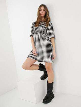 WOMEN New Look gingham baby doll mini dress in black