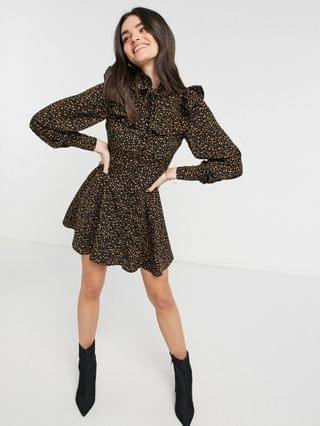WOMEN Fashion Union high neck shirt dress with ruffle collar in abstract animal