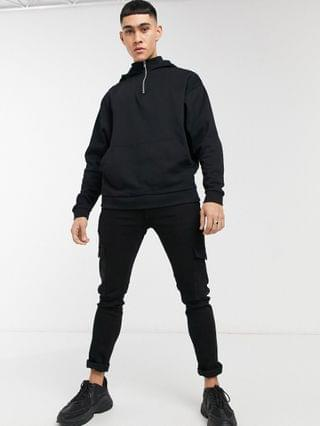 organic oversized hoodie with half zip neck in black
