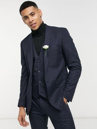 skinny suit pants with micro plaid in navy and green