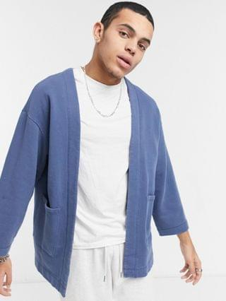 jersey kimono in washed blue