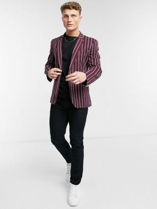 skinny blazer with wide stripes and gold button in burgundy