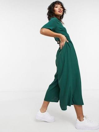 WOMEN petite button back jumpsuit in forest green