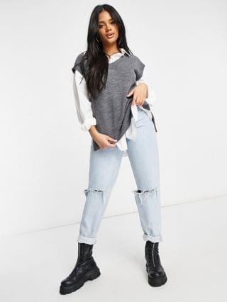 WOMEN Missguided knitted vest in gray