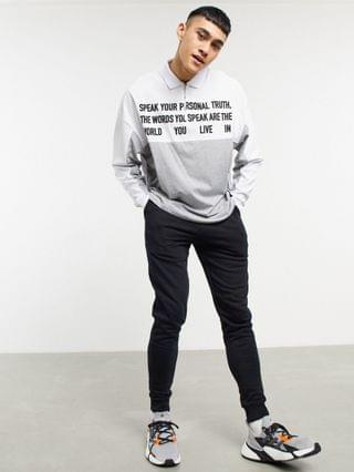 oversized long sleeve polo shirt in gray heather with text print