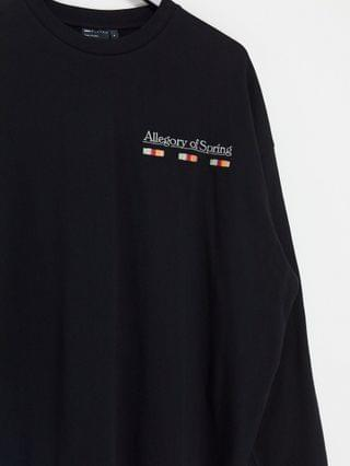 oversized long sleeve t-shirt in black with back flower print