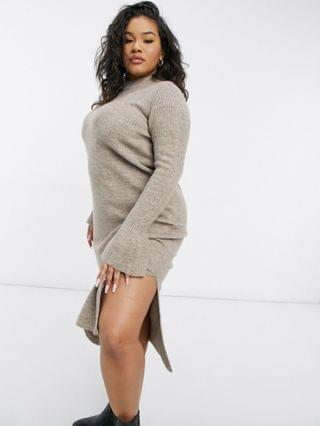 WOMEN Curve knitted dress with bell sleeve detail in taupe