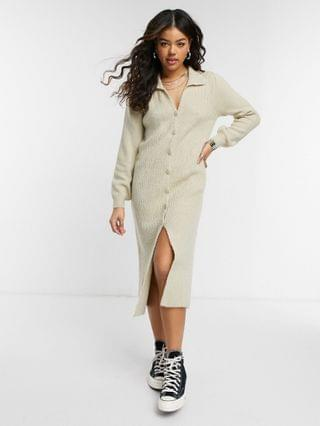 WOMEN knitted dress with collar detail and button up front
