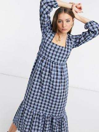 WOMEN New Look square neck smock midi dress in blue check