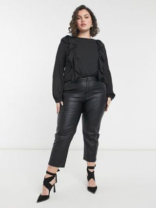 WOMEN In The Style Plus exclusive ruffle detail top in black