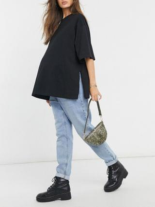 WOMEN Maternity super oversized T-shirt with side slits in black