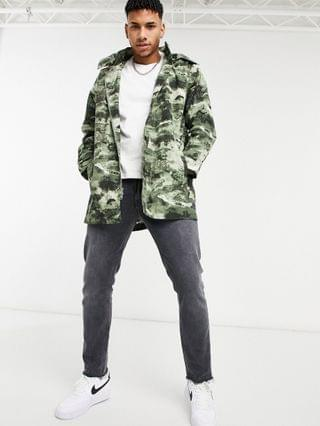 TEST LEVI Levi's Mission ocean camo print fishtail hooded parka jacket in hedge green