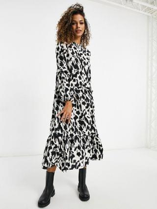 WOMEN Missguided midi smock dress with high neck in stone