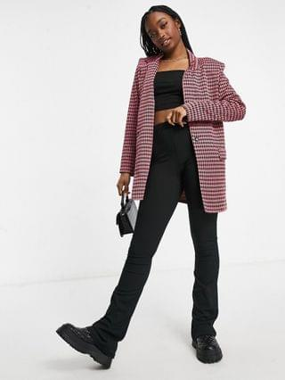 WOMEN jersey dad suit blazer in mini check