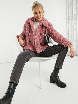 WOMEN Topshop cropped borg jacket in pink