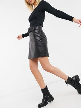 WOMEN Ever New mini skirt in croc effect in black