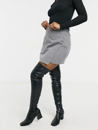 WOMEN Abercrombie & Fitch plaid wrap mini skirt in gray