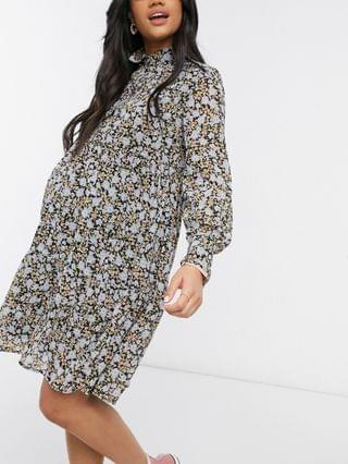 WOMEN Pieces Maternity high neck smock dress in ditsy floral