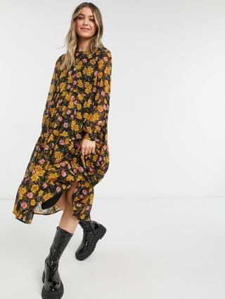 WOMEN Pieces chiffon midi smock dress in black and mustard floral
