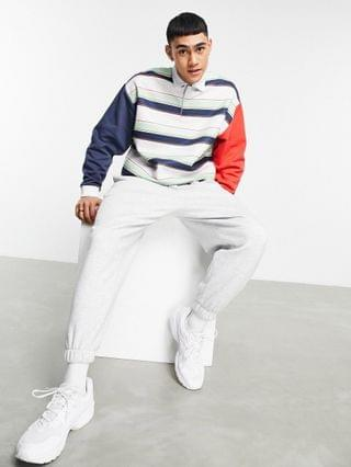 oversized polo sweatshirt with all over stripes