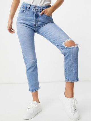 WOMEN Levi's wedgie straight leg jeans with busted knee in light wash