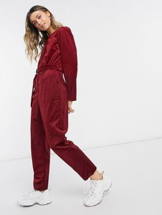 WOMEN cord button front jumpsuit in burnt red