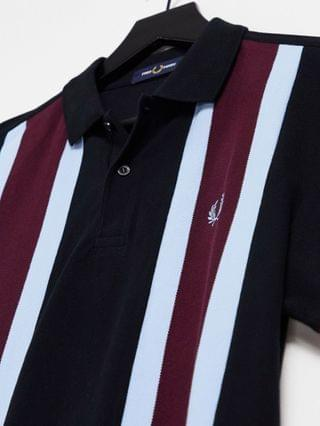 Fred Perry vertical stripe polo in black/burgundy