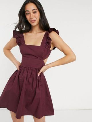 WOMEN Fashion Union Exclusive cutout beach dress with ruffle detail in maroon