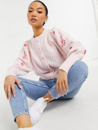 WOMEN Y.A.S Petite exclusive cardigan with embroidered sleeves in pink
