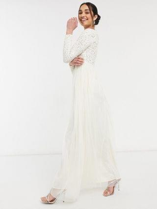 WOMEN Maya Bridesmaid long sleeved maxi dress with delicate sequin and tulle skirt in ecru