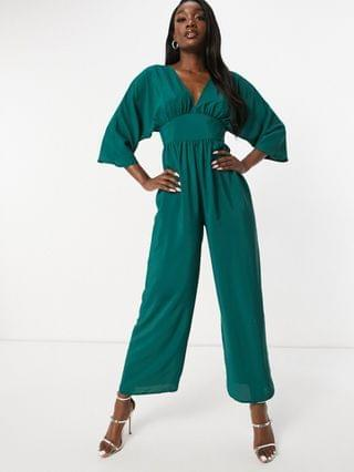 WOMEN tall kimono sleeve culotte jumpsuit in forest green
