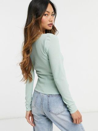 WOMEN crinkle top with ultra square neck in sage green