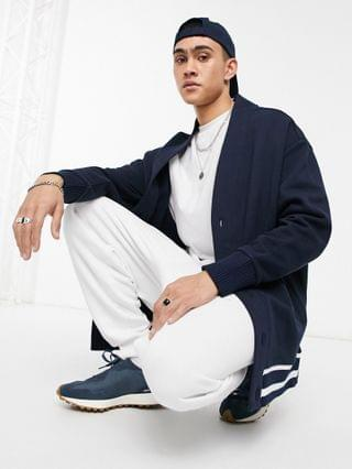 extreme oversized jersey cardigan in navy