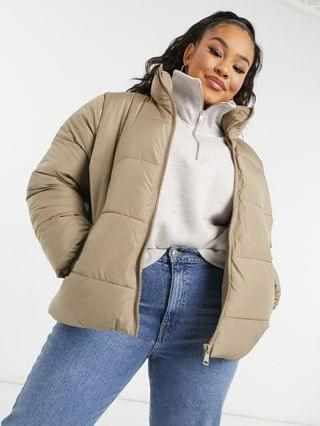 WOMEN New Look Curve hooded puffer coat in camel