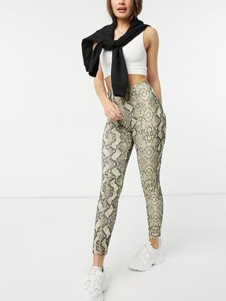 WOMEN New Look textured pants in brown snake pattern